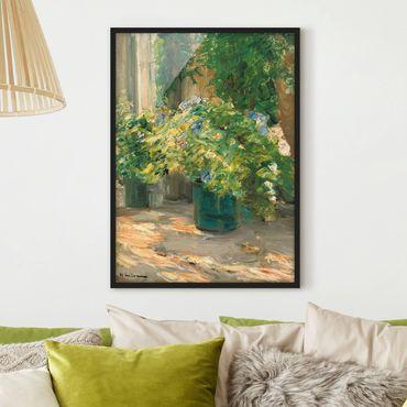 Bild mit Rahmen - Max Liebermann - Blumentöpfe vor dem Haus - Hochformat 4:3