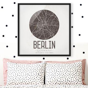 Bild mit Rahmen - Stadtplan Berlin - Retro - Quadrat 1:1