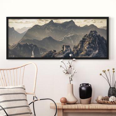Bild mit Rahmen - Die große chinesische Mauer - Panorama Querformat