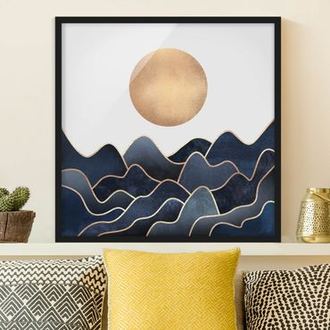 Bild mit Rahmen - Goldene Sonne blaue Wellen - Quadrat 1:1