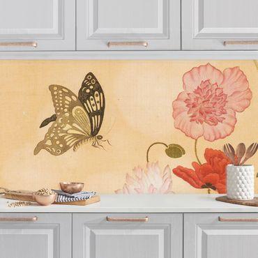 Küchenrückwand - Yuanyu Ma - Mohnblumen und Schmetterlinge