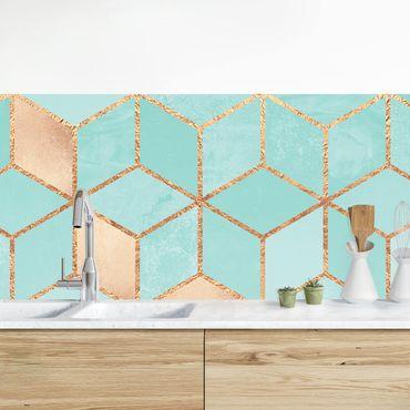 Küchenrückwand - Türkis Weiß goldene Geometrie