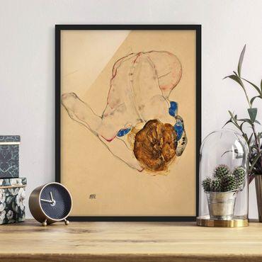 Bild mit Rahmen - Egon Schiele - Nach vorne gebeugter Akt - Hochformat 3:4