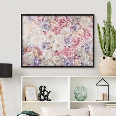 Bild mit Rahmen - Pastell Paper Art Rosen - Querformat 3:4