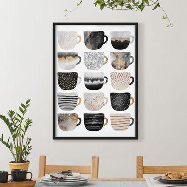 Bild mit Rahmen - Goldene Tassen Schwarz Weiß - Hochformat 4:3