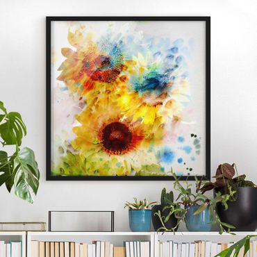 Bild mit Rahmen - Aquarell Blumen Sonnenblumen - Quadrat 1:1
