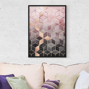 Bild mit Rahmen - Rosa Grau goldene Geometrie - Hochformat 4:3