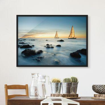 Bild mit Rahmen - Segelschiffe im Ozean - Querformat 3:4