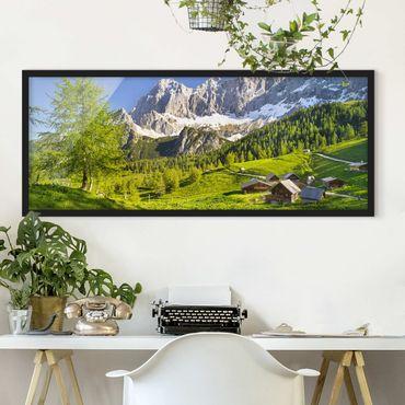 Bild mit Rahmen - Steiermark Almwiese - Panorama Querformat