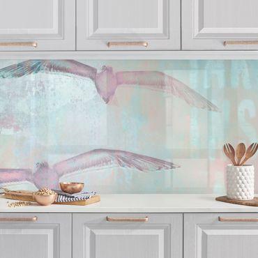 Küchenrückwand - Shabby Chic Collage - Möwen