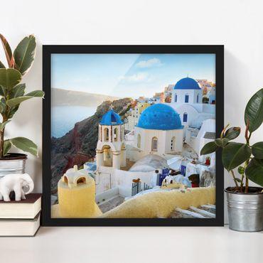 Bild mit Rahmen - Santorini - Quadrat 1:1