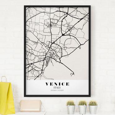 Bild mit Rahmen - Stadtplan Venice - Klassik - Hochformat 3:4