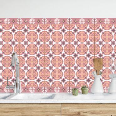 Küchenrückwand - Geometrischer Fliesenmix Kreise Orange