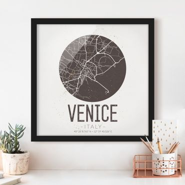 Bild mit Rahmen - Stadtplan Venice - Retro - Quadrat 1:1