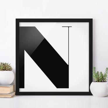 Bild mit Rahmen - Antiqua Letter N - Quadrat 1:1