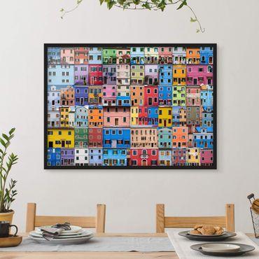 Bild mit Rahmen - Venezianische Häuser - Querformat 3:4