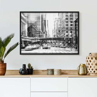 Bild mit Rahmen - NYC Urban schwarz-weiß - Querformat 3:4