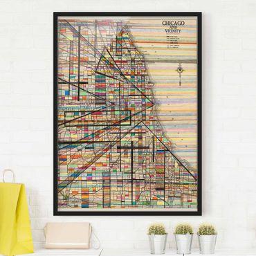 Bild mit Rahmen - Moderne Karte von Chicago - Hochformat 4:3