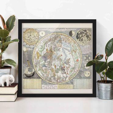 Bild mit Rahmen - Vintage Antike Sternenkarte - Quadrat 1:1