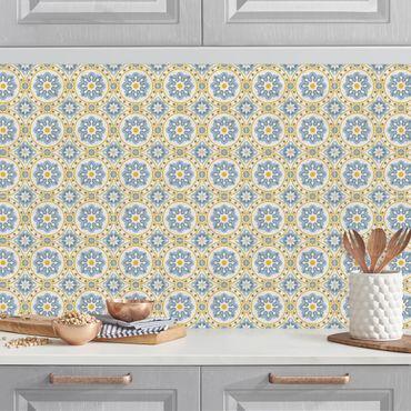 Küchenrückwand - Florale Fliesen blau-gelb