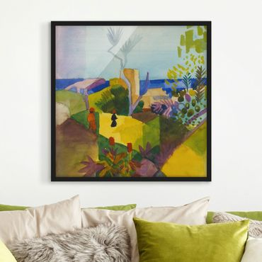 Bild mit Rahmen - August Macke - Landschaft am Meer - Quadrat 1:1