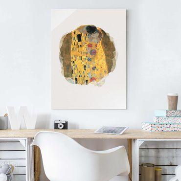 Glasbild - Wasserfarben - Gustav Klimt - Der Kuss - Hochformat 4:3