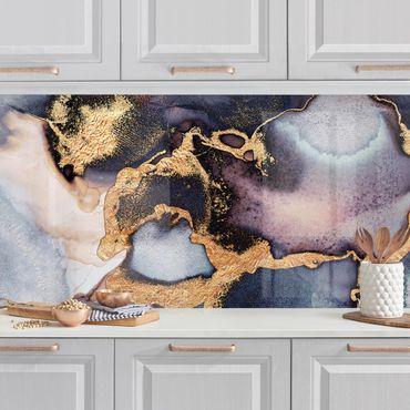 Küchenrückwand - Marmor Aquarell mit Gold