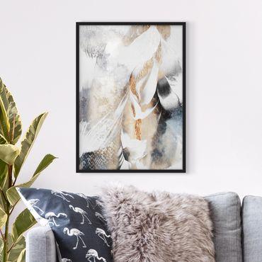 Bild mit Rahmen - Goldene abstrakte Wintermalerei - Hochformat 4:3