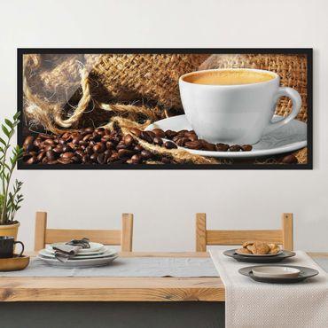 Bild mit Rahmen - Kaffee am Morgen - Panorama Querformat