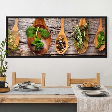 Bild mit Rahmen - Kräuter und Gewürze - Panorama Querformat