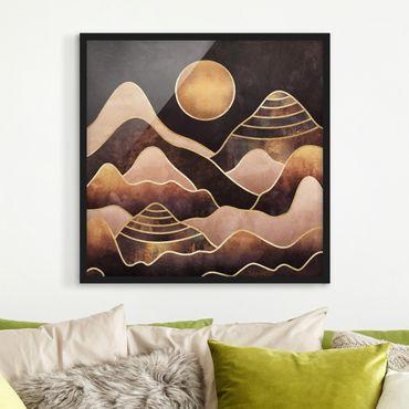 Bild mit Rahmen - Goldene Sonne abstrakte Berge - Quadrat 1:1