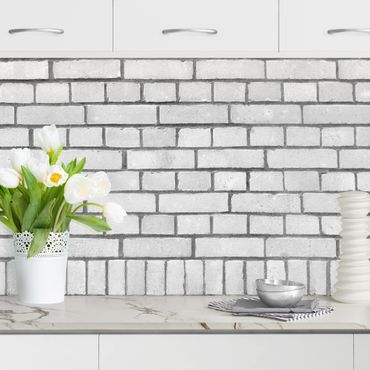 Küchenrückwand - Weiße Backstein Mauer