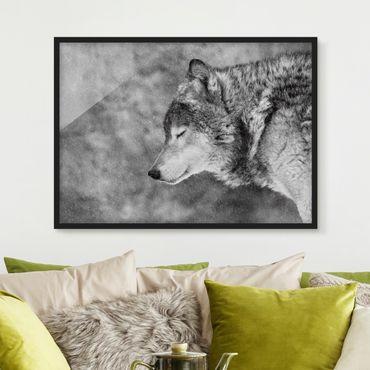 Bild mit Rahmen - Winter Wolf - Querformat 3:4