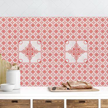 Küchenrückwand - Fliesenmuster Porto rot