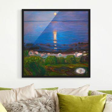 Bild mit Rahmen - Edvard Munch - Sommernacht am Meeresstrand - Quadrat 1:1