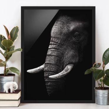 Bild mit Rahmen - Dunkles Elefanten Portrait - Hochformat 4:3