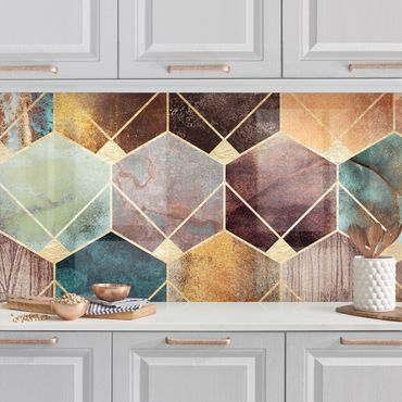 Küchenrückwand - Türkise Geometrie goldenes Art Deco