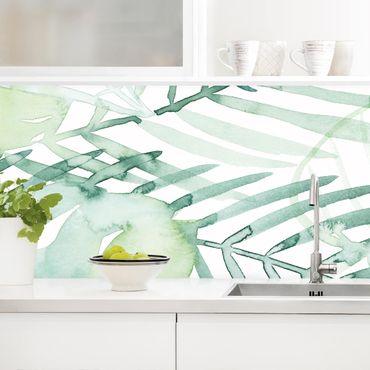 Küchenrückwand - Palmwedel in Wasserfarbe I