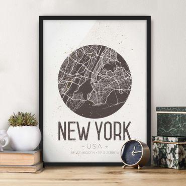 Bild mit Rahmen - Stadtplan New York - Retro - Hochformat 3:4