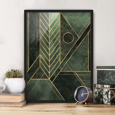 Bild mit Rahmen - Geometrische Formen Smaragd Gold - Hochformat 4:3