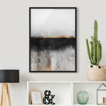 Bild mit Rahmen - Abstrakter Goldener Horizont Schwarz Weiß - Hochformat 4:3