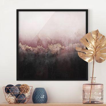 Bild mit Rahmen - Goldene Dämmerung Rosa - Quadrat 1:1