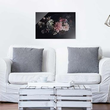 Glasbild - Blumen mit Nebel auf Schwarz - Querformat 2:3