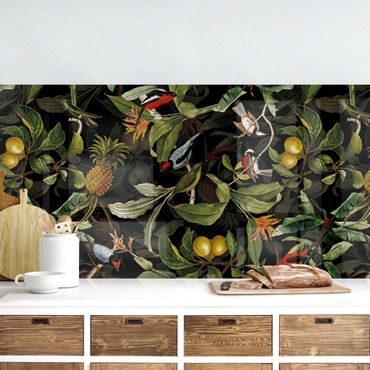 Küchenrückwand - Vögel mit Ananas Grün