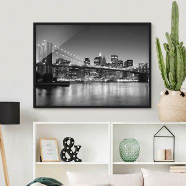 Bild mit Rahmen - Brooklyn Brücke in New York II - Querformat 3:4
