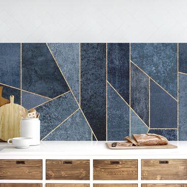 Küchenrückwand - Blaue Geometrie Aquarell