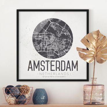Bild mit Rahmen - Stadtplan Amsterdam - Retro - Quadrat 1:1