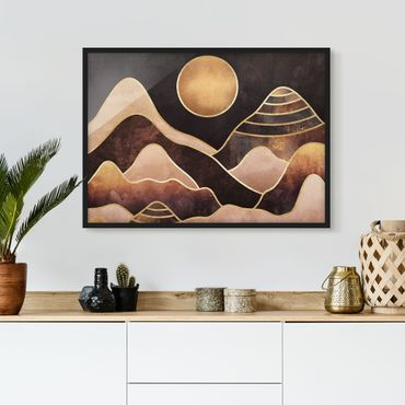 Bild mit Rahmen - Goldene Sonne abstrakte Berge - Querformat 3:4