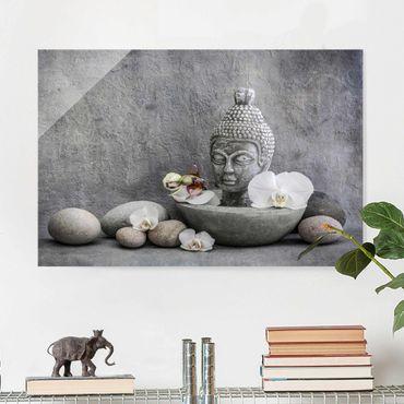 Glasbild - Zen Buddha, Orchideen und Steine - Querformat 2:3