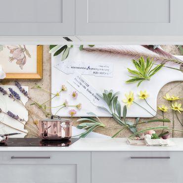 Küchenrückwand - Blumen und Gartenkräuter Vintage